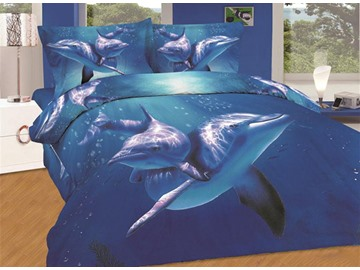 Amazing Dolphin Swimming in Sea Print 4-Piece Cotton Duvet Cover Sets