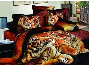 Heart-Warming Tiger Couples on Land Print 4-Piece Cotton Duvet Cover Sets