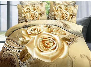 Luxury Golden Rose Printing 4-Piece Duvet Cover Sets