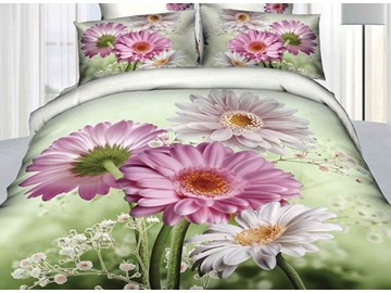 Fresh Pink and White Daisy Print Cotton 4-Piece Duvet Cover Sets