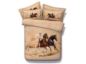 Three Running Horses Printing Brown 4-Piece Duvet Cover Sets