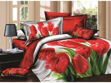 Charming Red Tulips Printing Cotton 4-Piece Duvet Cover Sets