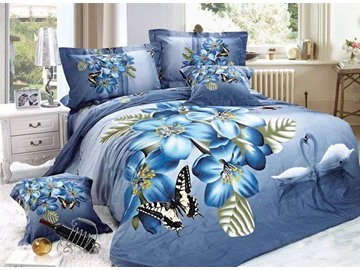Beautiful Butterfly and Blue Flower Pattern 4-Piece Cotton Duvet Cover Sets