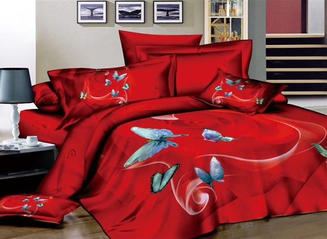 Sexy Red 4-Piece Cotton Bedding Sets with Butterflies