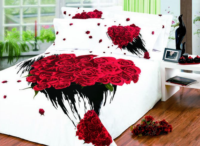 Fantastic Bunch Rose Printed 4 Piece King Bed Sheets (10489852)