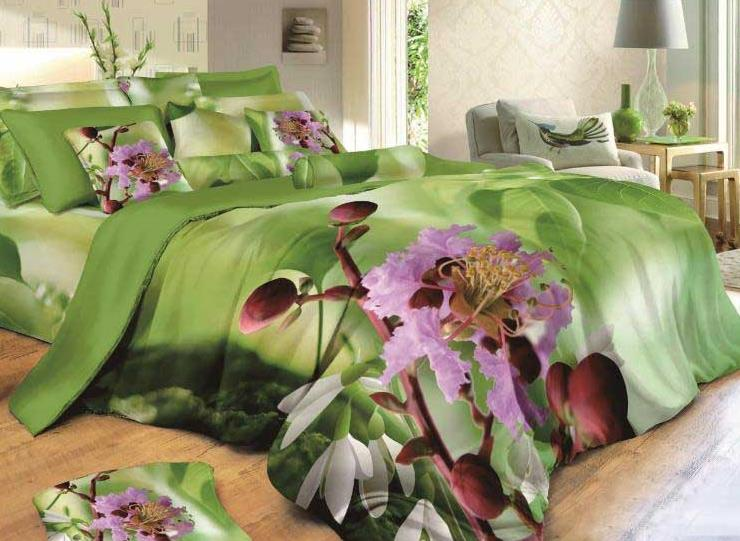 Lovely Flowers Print 4 Piece Green Bedding Sets