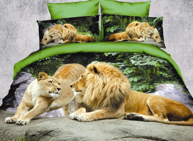 Crown Lion Couple Print Polyester 3D Bedding Sets