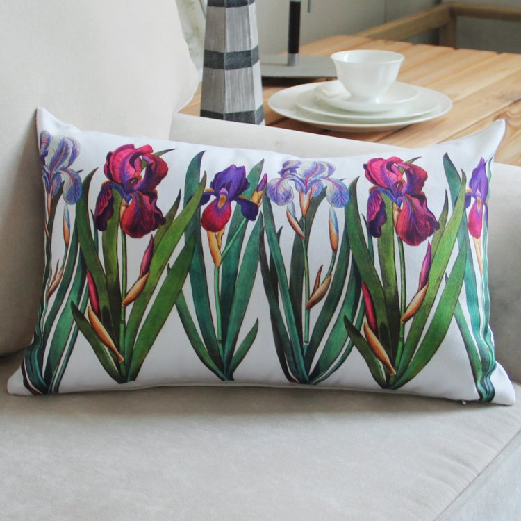INOpets.com Anything for Pets Parents & Their Pets Beautiful Green Plant Purple Flowers Bed Pillow