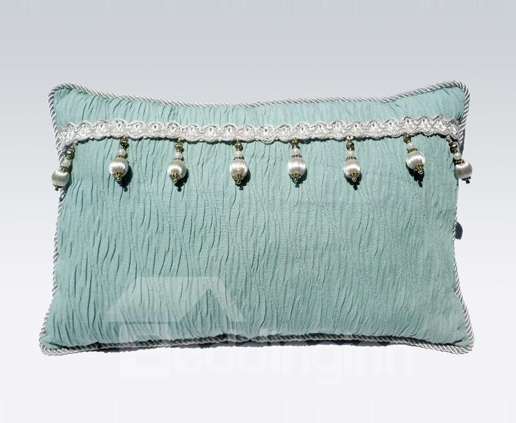 INOpets.com Anything for Pets Parents & Their Pets Super Fresh Tassel Stripe Green Lotus Leaf Bed Pillow
