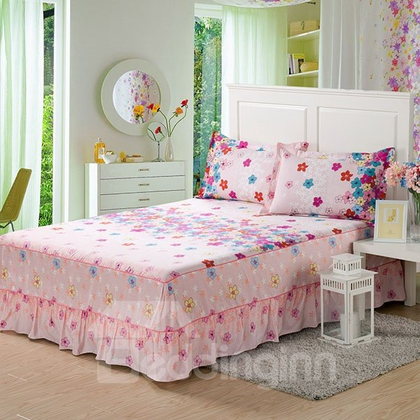 INOpets.com Anything for Pets Parents & Their Pets Lovely Little Flowers Printed Cotton Bed Skirt