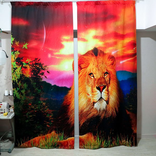 Lion in the Sunset Printing Light Blocking 3D Curtain