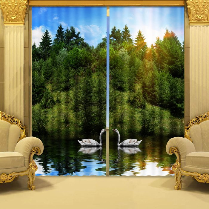 Amazing Beautiful Green Trees and Swan 3D Curtains