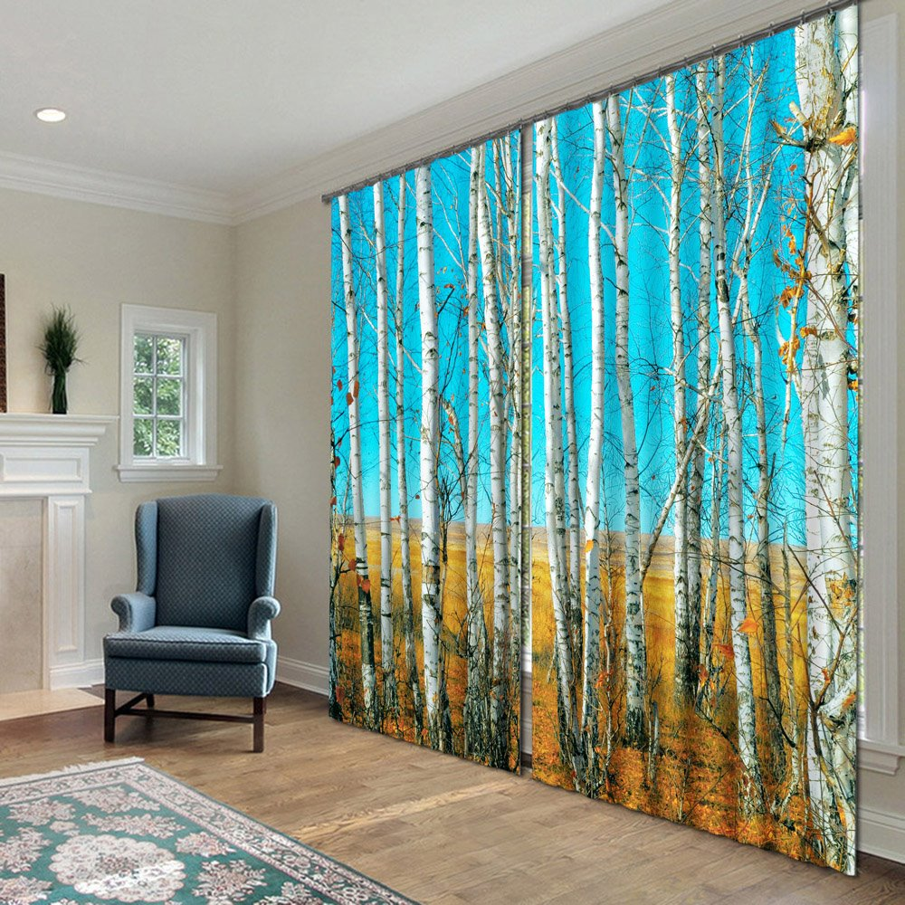 Fantastic Pretty Trees Polyester 2-Piece 3D Curtains