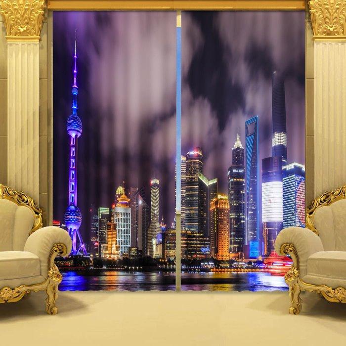 Wonderful Pretty Night Scene 2-Piece 3D Curtains