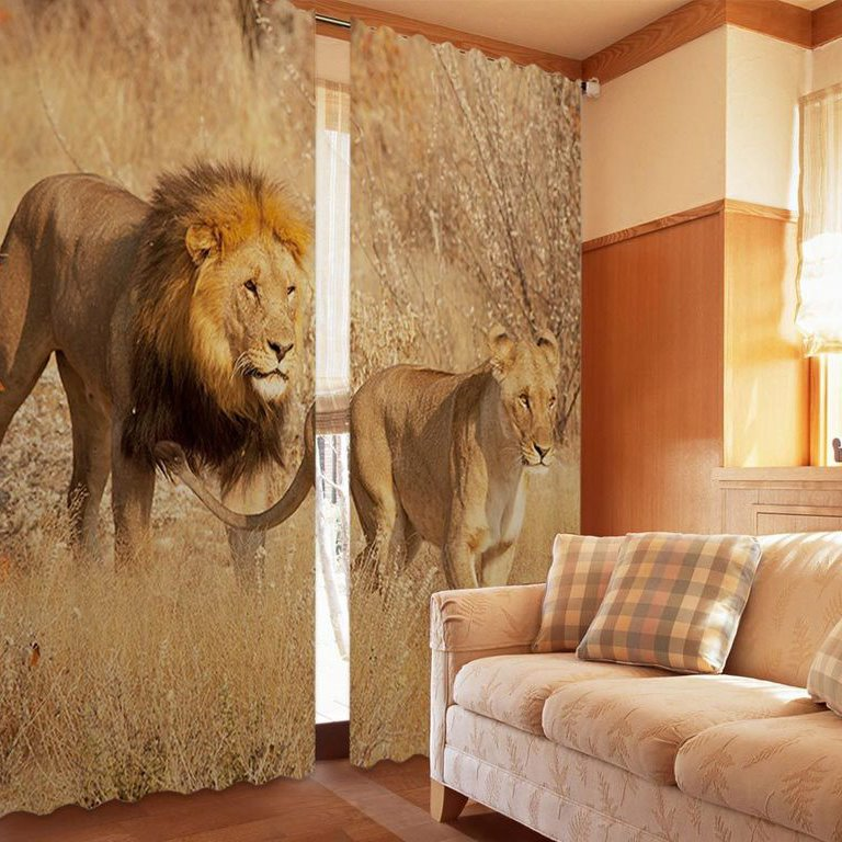Amazing Lion 2-Piece Polyester 3D Curtains