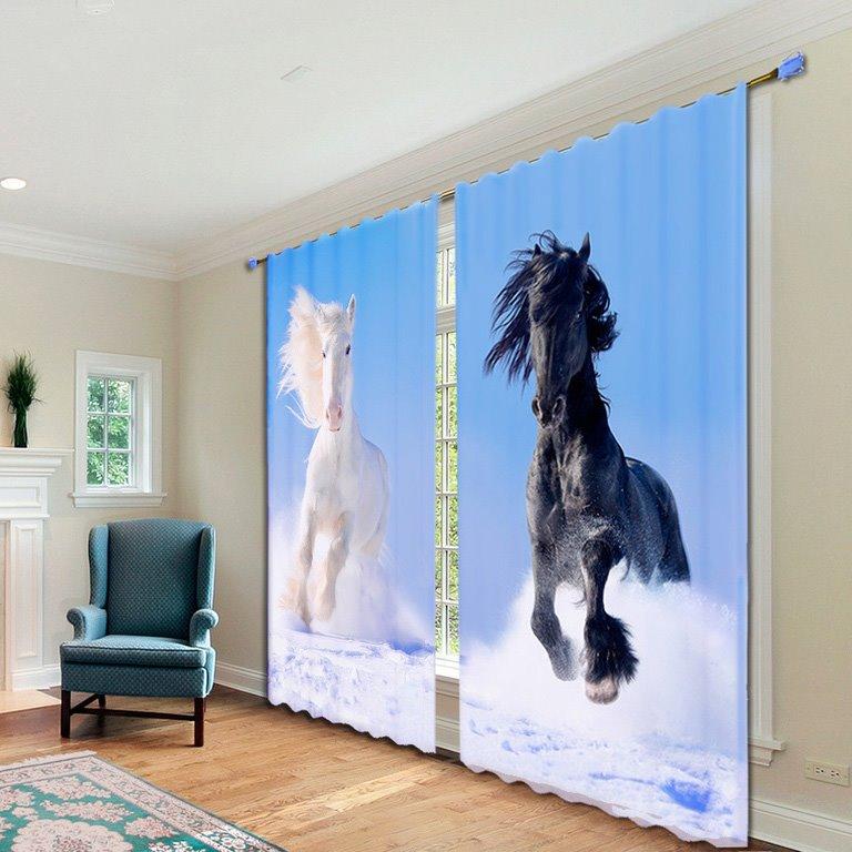 Wonderful Running Horse 2-Piece Polyester 3D Curtains