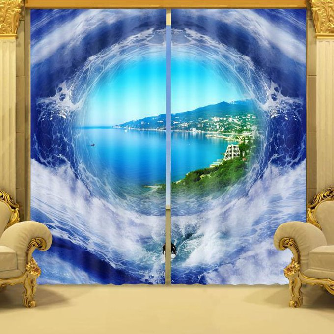 Beautiful Seaside View Sunlight Blocking 3D Curtain