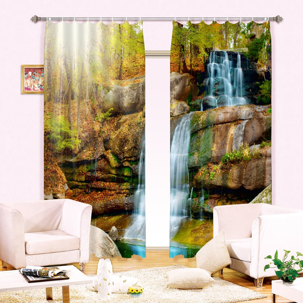 Beautiful Vivid Flowing Water Print Light Blocking 3D Curtain