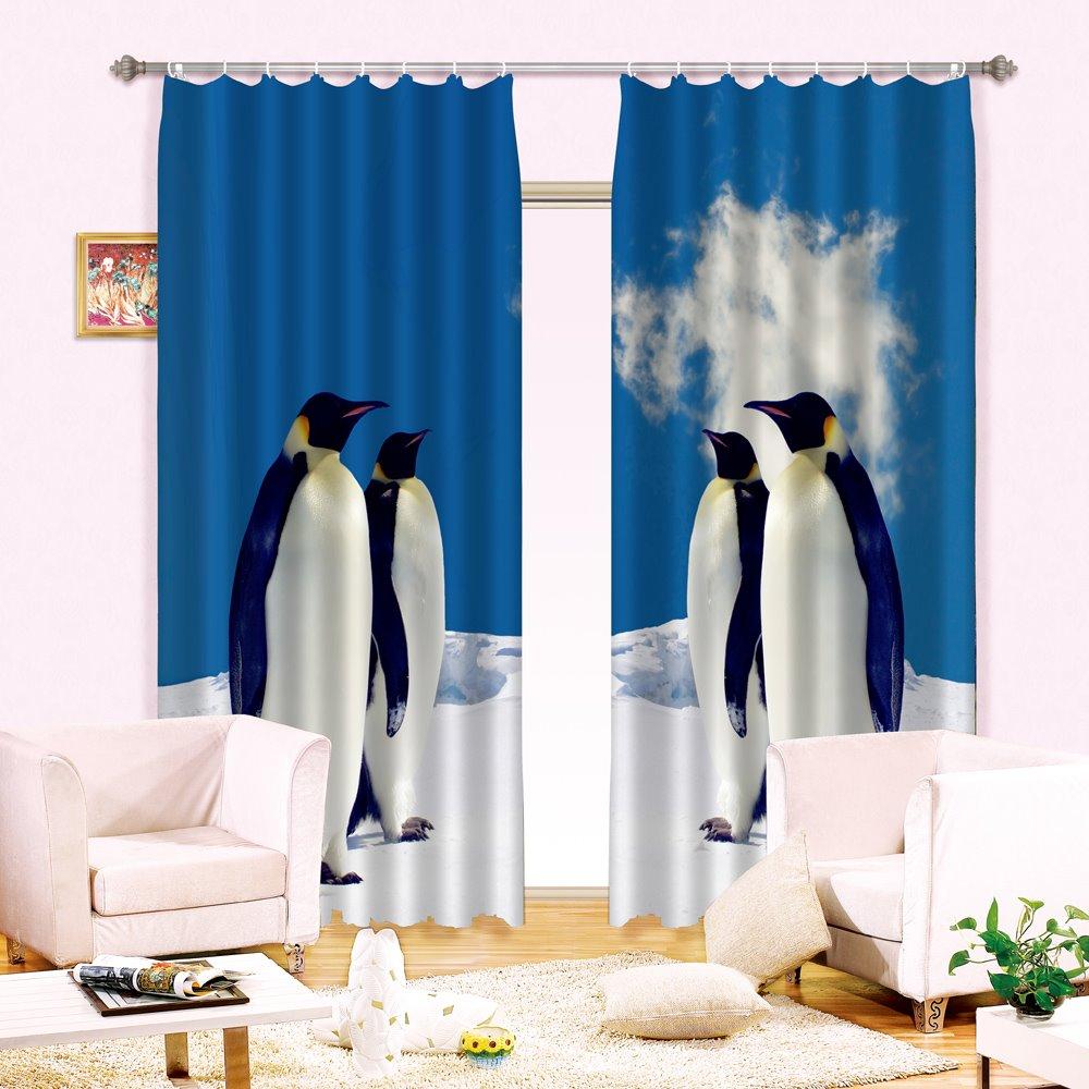 Super Lovely Penguin Print Light Blocking 3D Curtain
