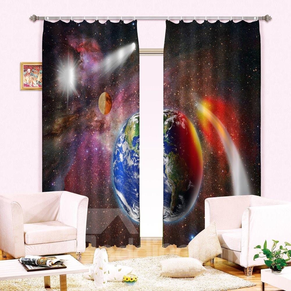 New Arrival Illusional Planet Print Light Blocking 3D Curtain