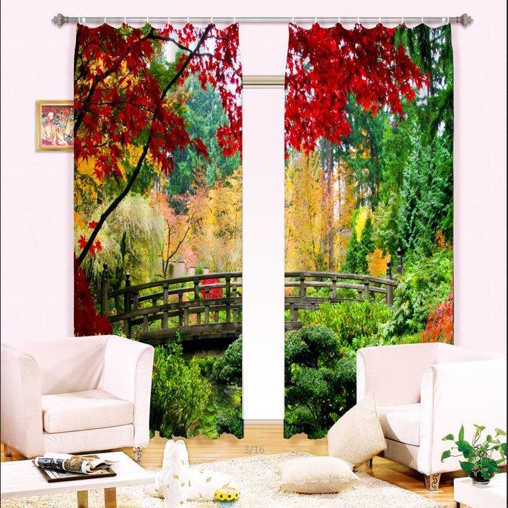 Peaceful Bridge Nature Scenery Printing Light Blocking 3D Curtain