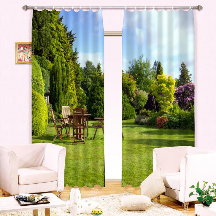 INOpets.com Anything for Pets Parents & Their Pets Beautiful Green Home Garden and Retro Table Sets Custom 3D Curtain for Living Room