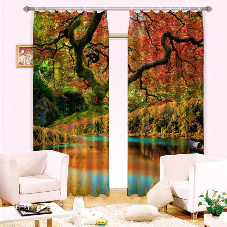 Wonderful Forest Reflection in Water Print Light Blocking 3D Curtain