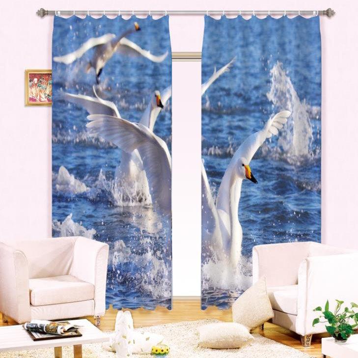 New Arrival Lifelike Crane in Water Print Light Blocking 3D Curtain