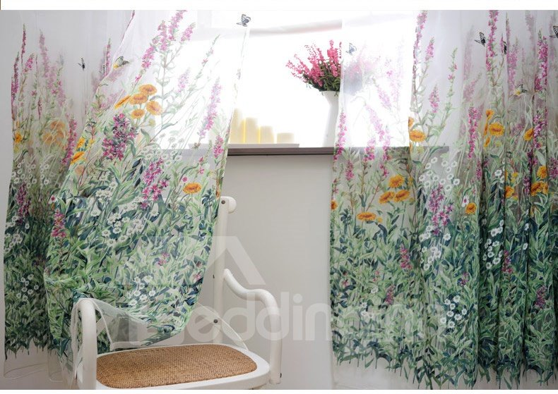 curtains for bedrooms high end pastoral style butterfly flowers sheer curtain 11335