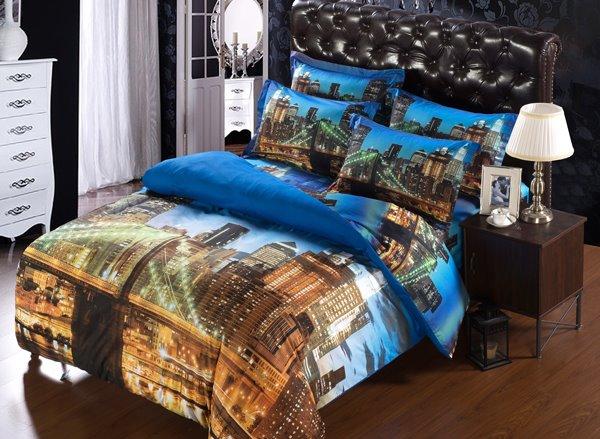London Bridge in Night Lights Print 6-Piece Duvet Cover Sets