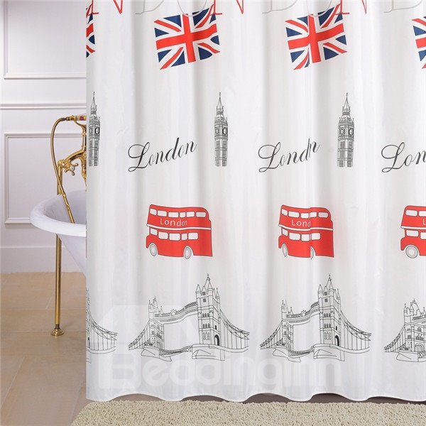 European Style Simple London Landmark Print Shower Curtain