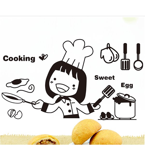INOpets.com Anything for Pets Parents & Their Pets Girl Chef Cooking Sweet Egg Print Wall Sticker