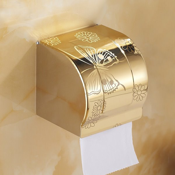 INOpets.com Anything for Pets Parents & Their Pets Modern Fashion Home Decor Golden Butterfly Toilet Paper Holder