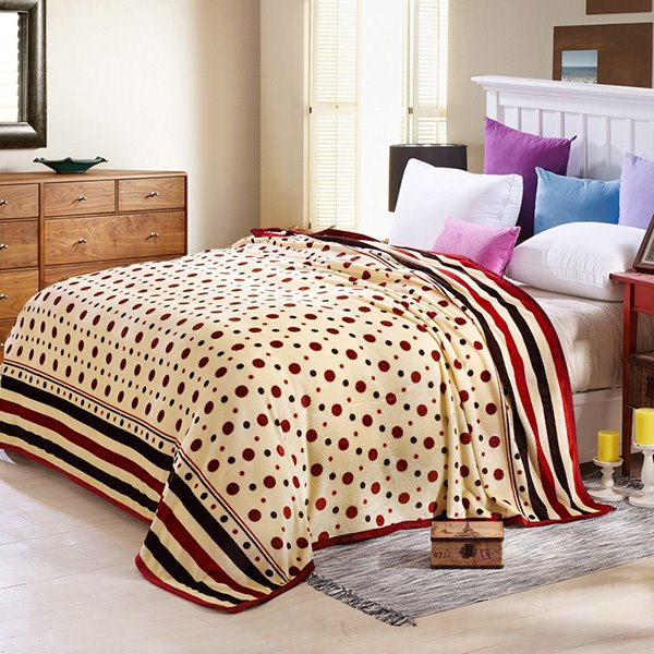 INOpets.com Anything for Pets Parents & Their Pets Polka Dots Print Muted Beige Bed Blanket