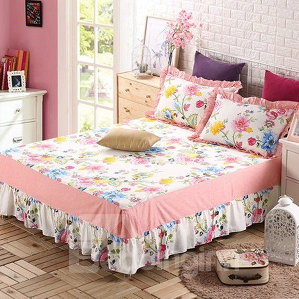 INOpets.com Anything for Pets Parents & Their Pets Romantic Red Peony Print Cotton Bed Skirt