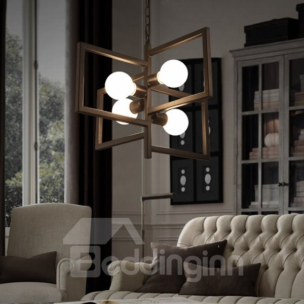 home decor ideas and pictures creative iron frame square frame 4 bulbs holders pendant 12247