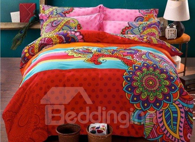 Fancy Boho Style 4-Piece Cotton Duvet Cover Sets