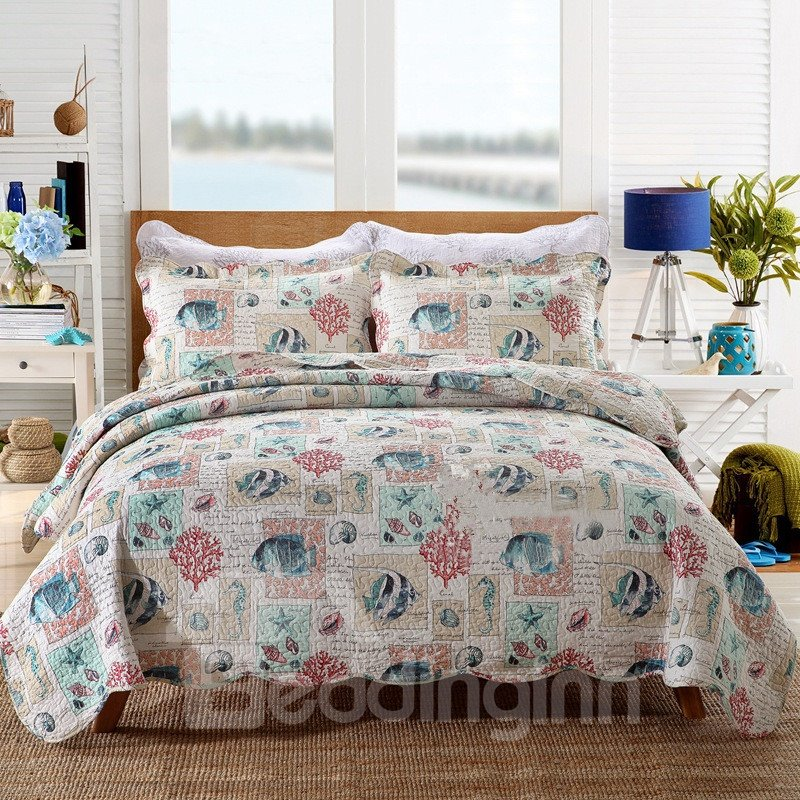 INOpets.com Anything for Pets Parents & Their Pets Lovely Fish Print Cotton 3-Piece Bed in a Bag