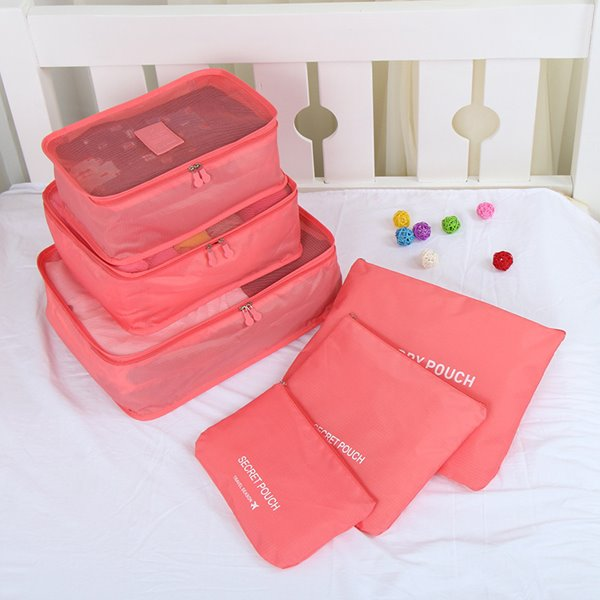 INOpets.com Anything for Pets Parents & Their Pets 6Pcs Red Thickening Multi-Functional Waterproof Travel Storage Bags Luggage Organizers