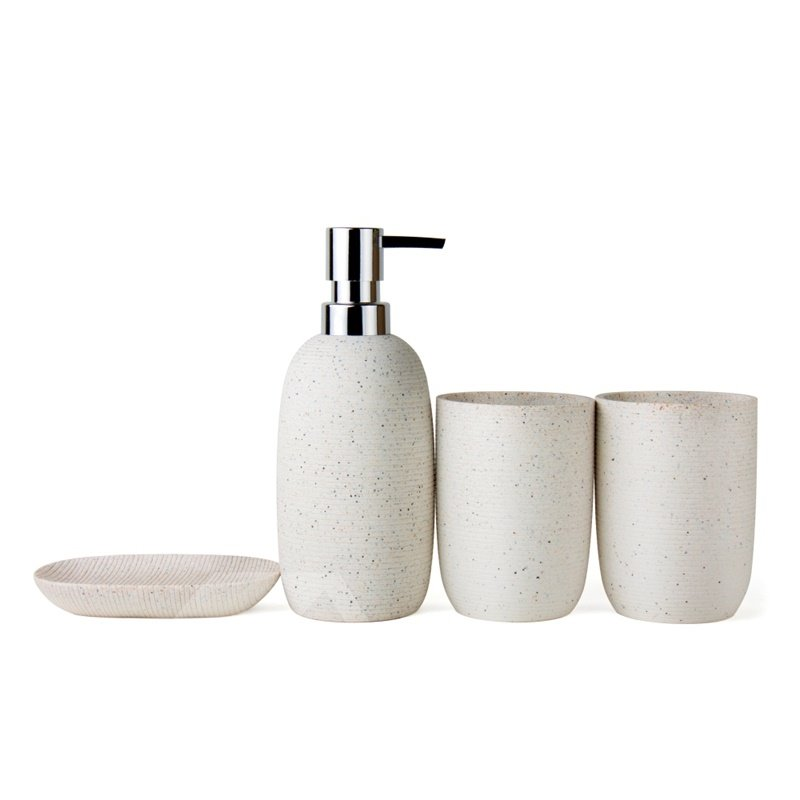 Contemporary Concise 4-Pieces Resin Bathroom Accessories