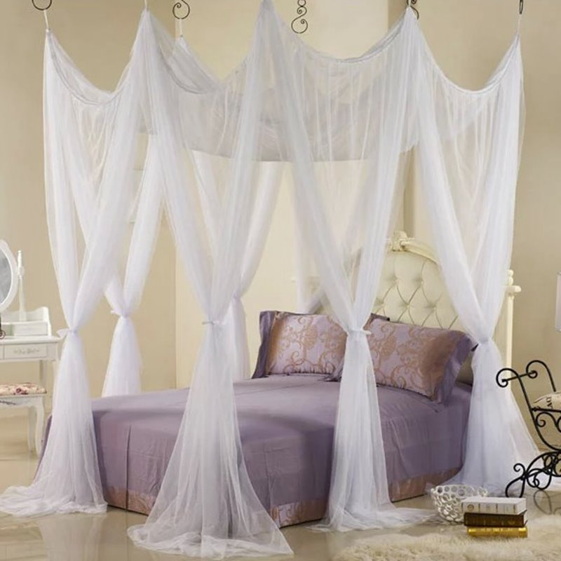 INOpets.com Anything for Pets Parents & Their Pets Fabulous White Polyester Eight Corner Bed Canopy