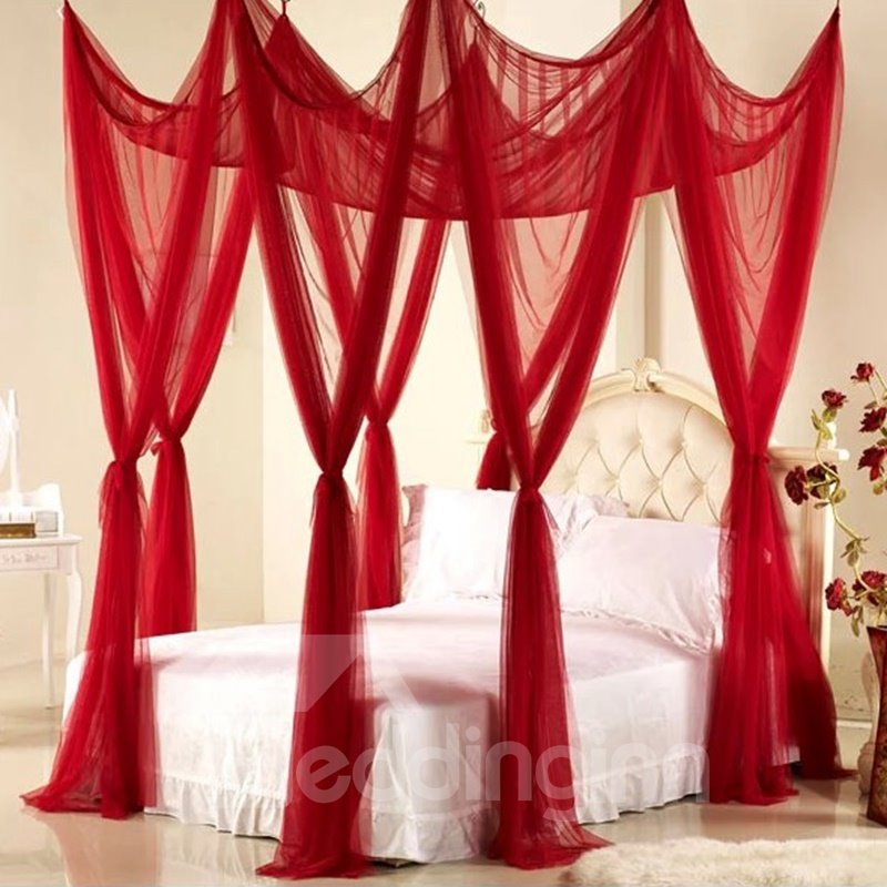Royal Style Festive Red Polyester Eight-point Bed Canopy