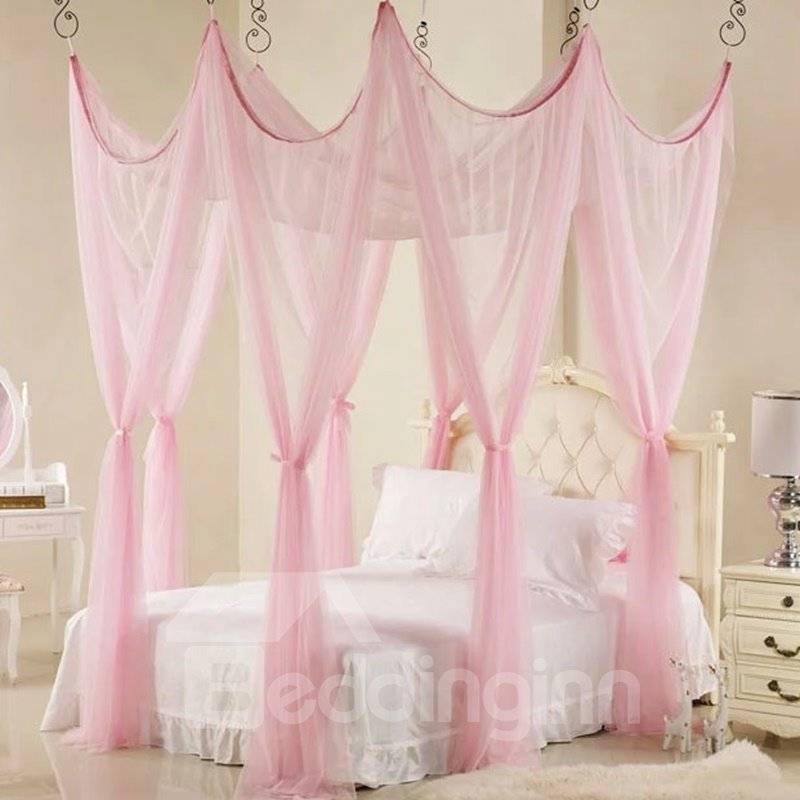 INOpets.com Anything for Pets Parents & Their Pets Beautiful Pink Polyester Eight Corner Bed Canopy