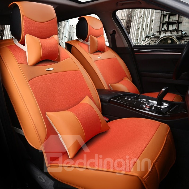 INOpets.com Anything for Pets Parents & Their Pets Fresh Orange Color Fashion Design Luxury Durable PET Material Universal Five Car Seat Cover