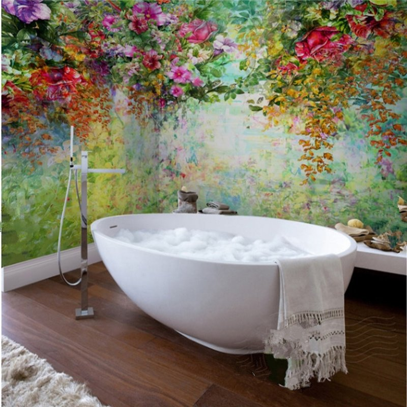 shower wall tile gorgeous flowers and trees pattern waterproof 3d bathroom 12738
