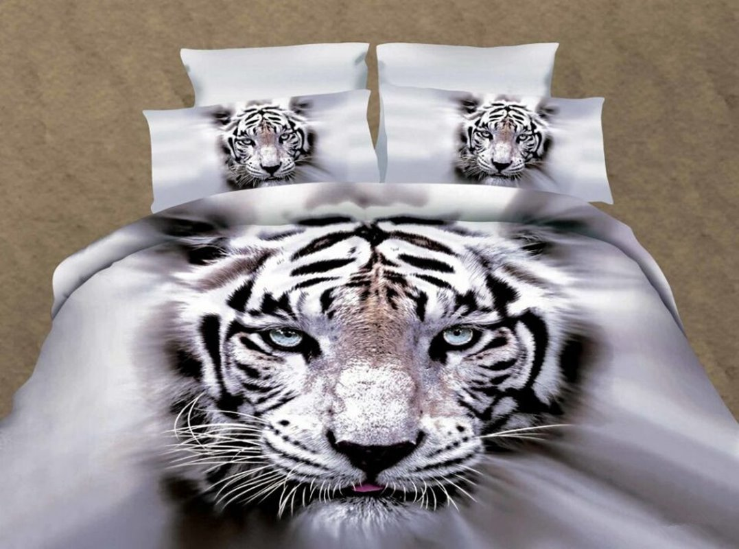 INOpets.com Anything for Pets Parents & Their Pets White Tiger 3D Printed Polyester 4-Piece Bedding Sets