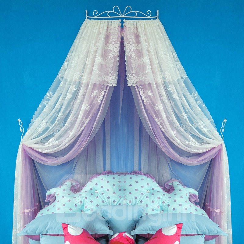 INOpets.com Anything for Pets Parents & Their Pets Princess Style Double Lace Light Purple Bed Canopy
