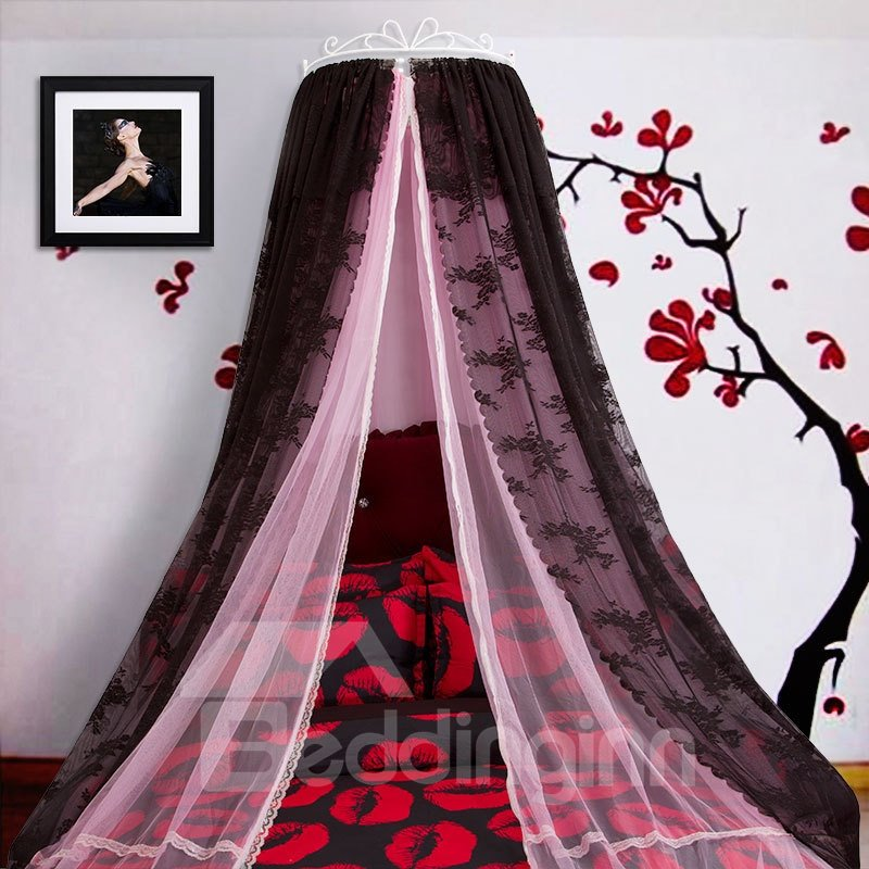 INOpets.com Anything for Pets Parents & Their Pets Princess Double Layers Pink and Black Bed Canopy