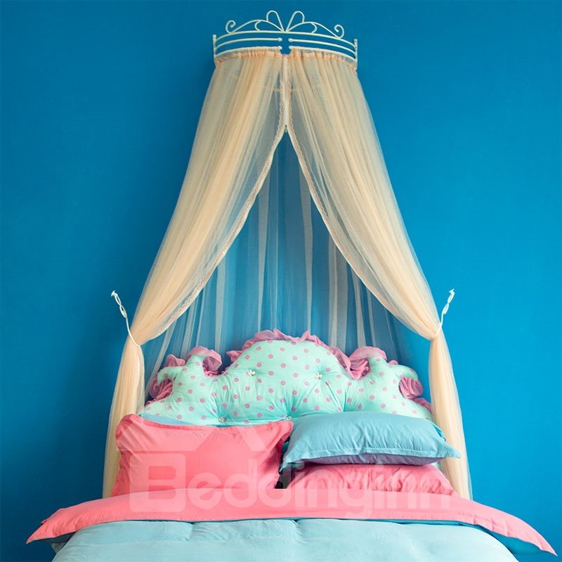 Princess Crown Design Light Pink Bed Canopy