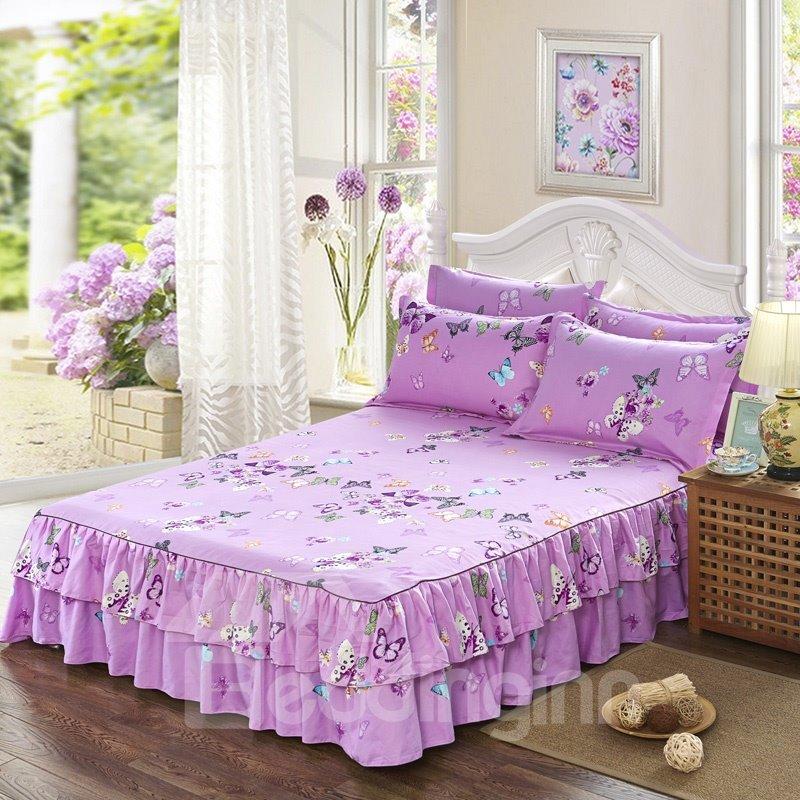 Butterflies Print Princess Style Purple Cotton Bed Skirt